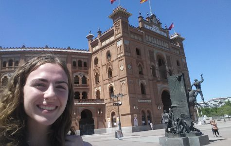 Senior Carolina Koricke poses in front of the Plaza de Toros Las Ventas in Madrid, Spain.