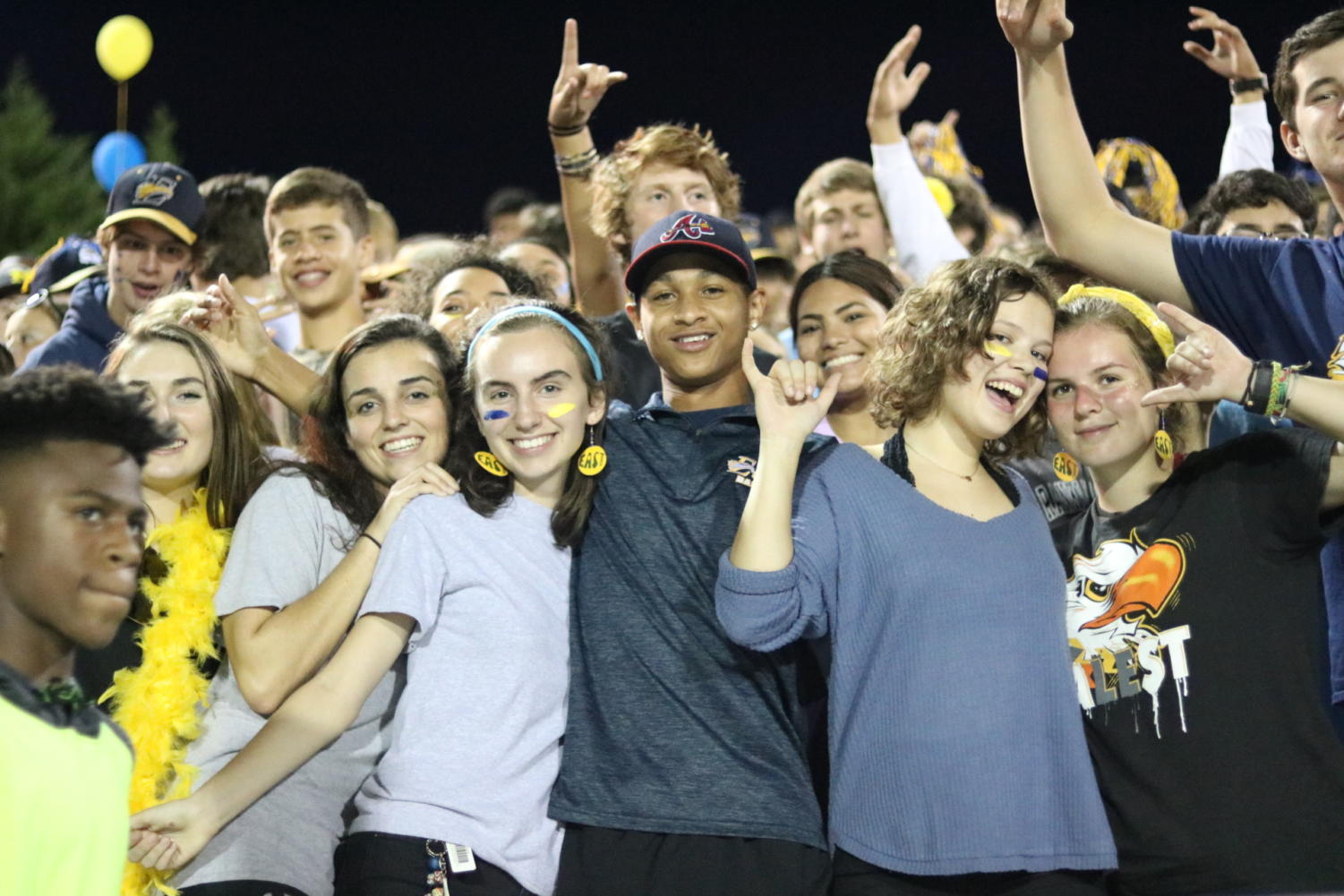 The student section during the homecoming game.
