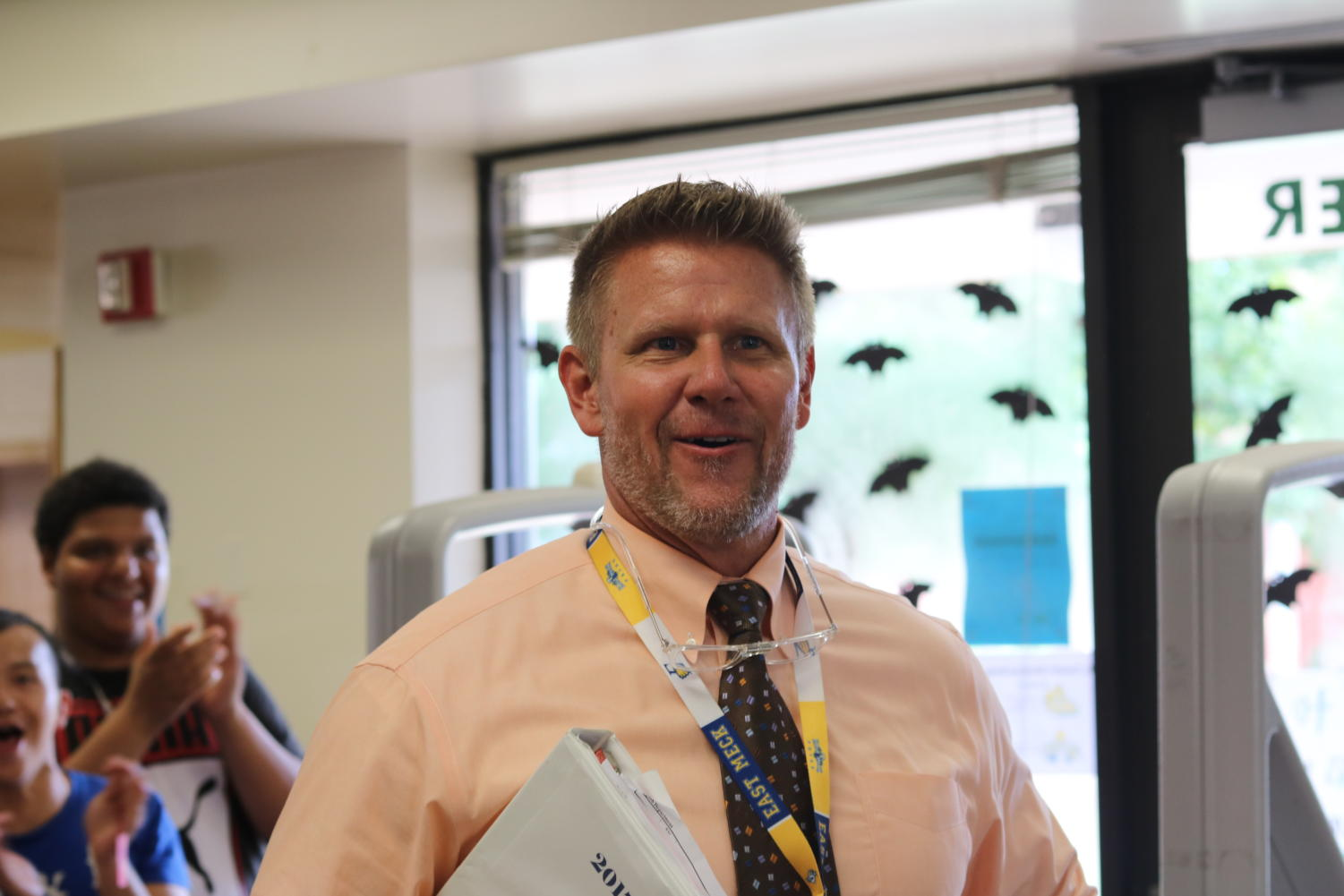 Principal Rick Parker in shock after receiving the Principal of the Year award.
