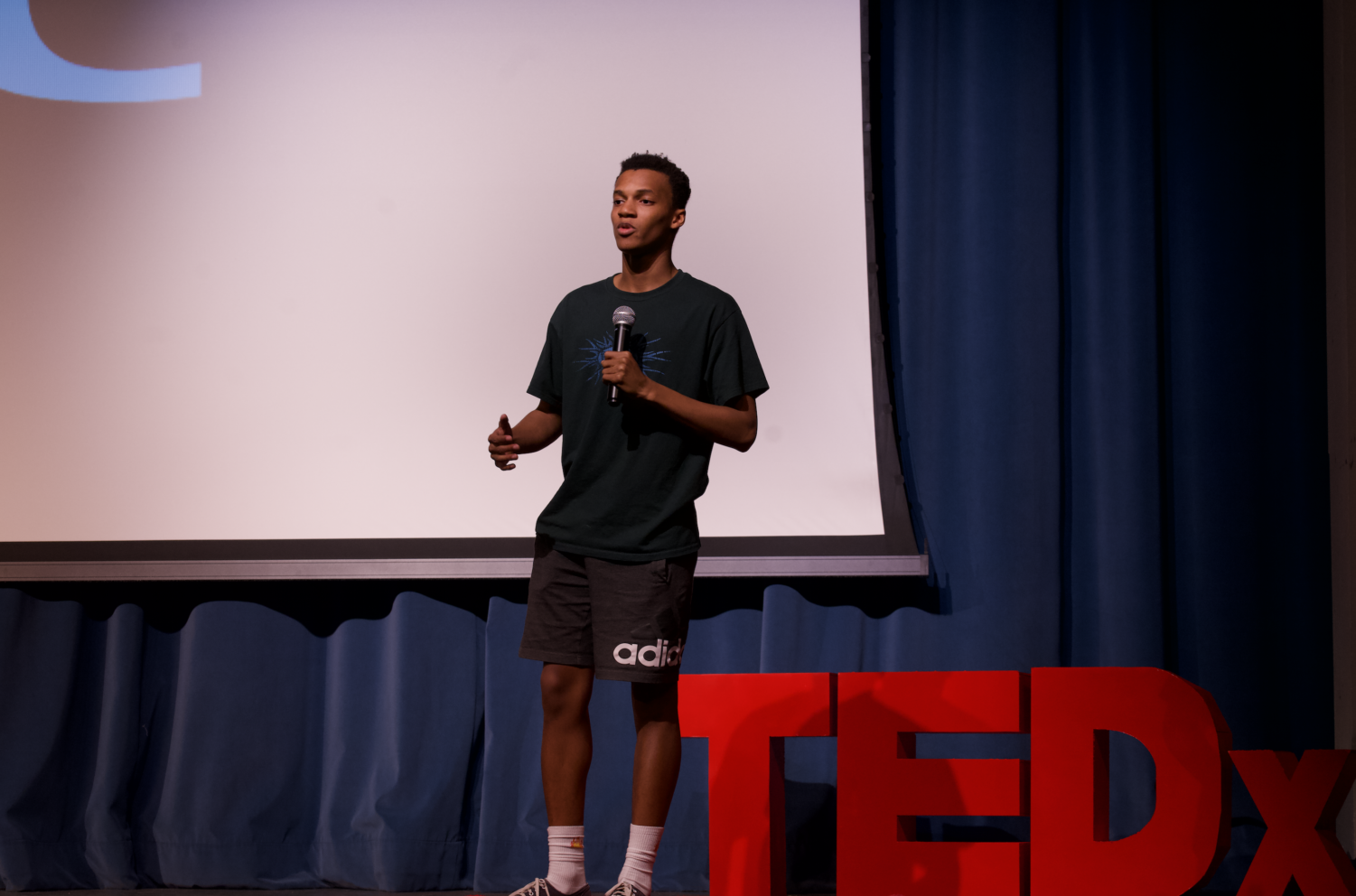 Trekahry Gadson goes through TED talk at TEDxEMHS practice.