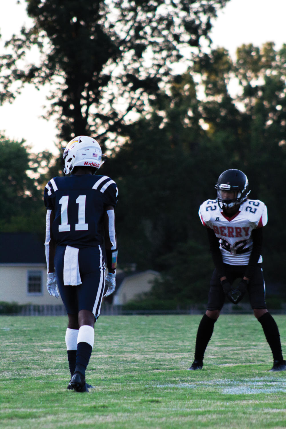 Marques Fleming (#11) lines up on the line of scrimmage ready to make a play.